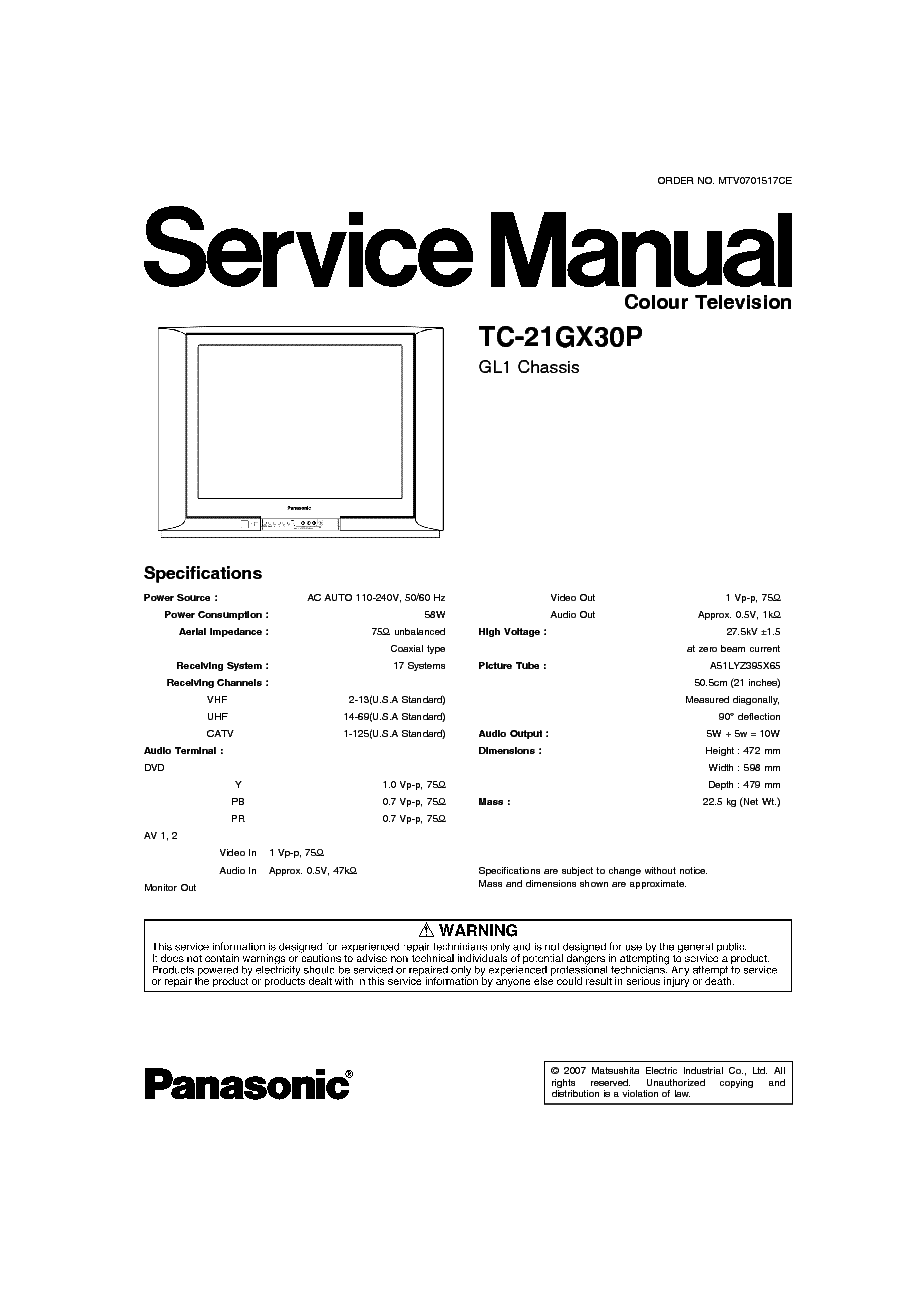 Free Download Schematic Diagram Panasonic Chassis Gl1 Type Tc Circuit U Service Manual Tc21gx30