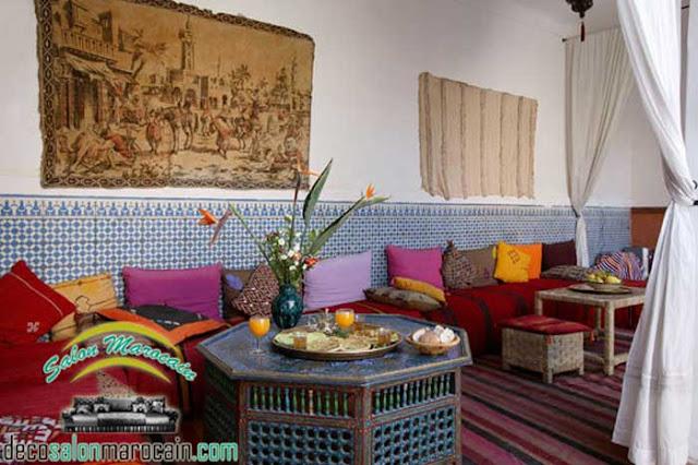 Salon / salon marocain traditionnel intègre l'antiquité pour une décoration 2017