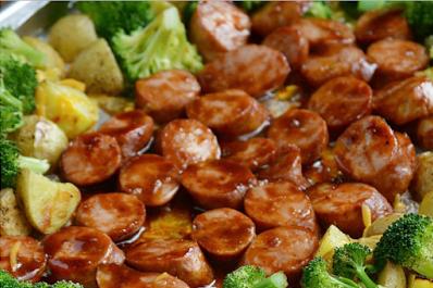 Sheet Pan BBQ Smoked Sausage Dinner