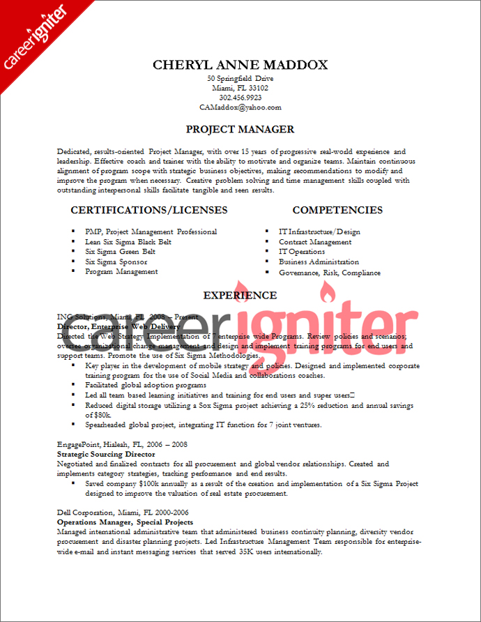 Marketing Project Manager Resume Sample