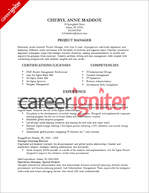 Project Management Resume Sample – Sample Project Manager Resume