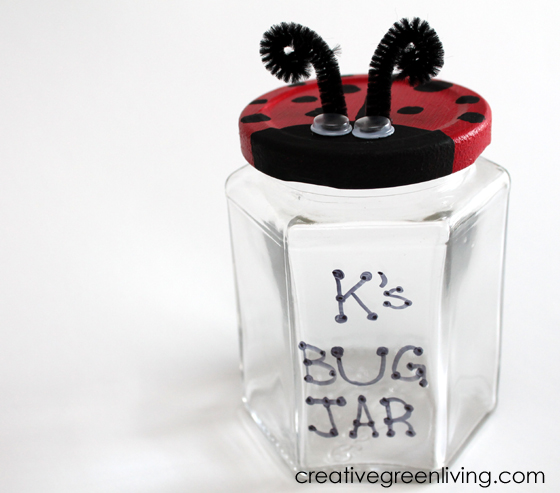 "Ladybug bug catcher jar that says ""K's Bug Jar"""