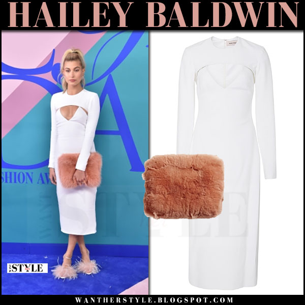 Hailey Baldwin in white cutout midi dress cushnie et ochs what she wore june 5 2017 cfda