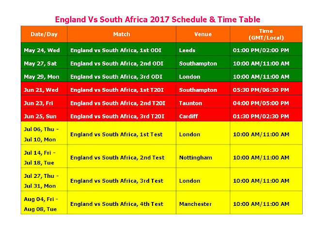England Vs South Africa 2017 Schedule & Time Table,South Africa tour of England 2017,SA vs Eng 2017 series,England vs South Africa 2017 schedule,fixture,time table,local time,GMT IST local time,match detail,England vs South Africa series,ODI series,test series,t20 series,full match schedule,icc cricket calendar,all schedule,South Africa vs England 2017,cricket schedule,venue,day date,place,match timing