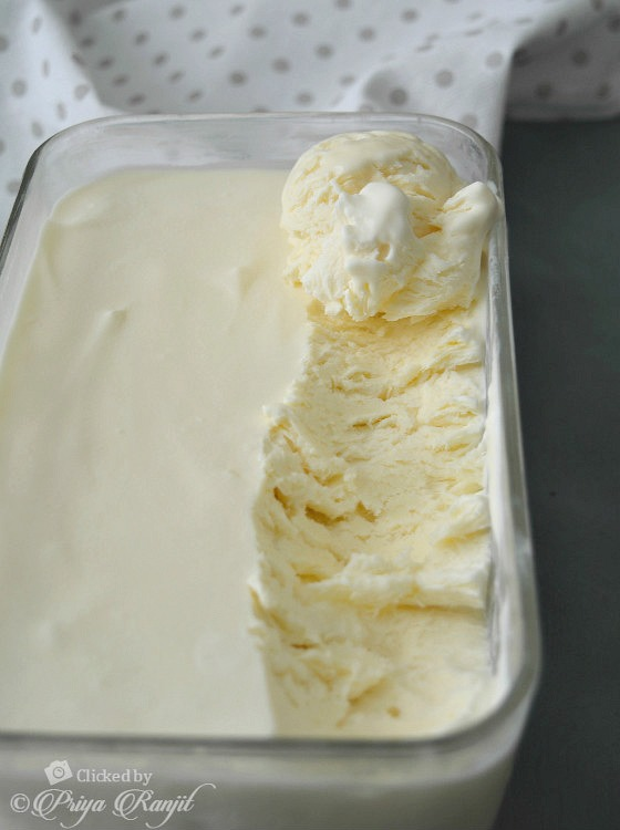 Eggless Vanilla Icecream Recipe without Icecream Maker