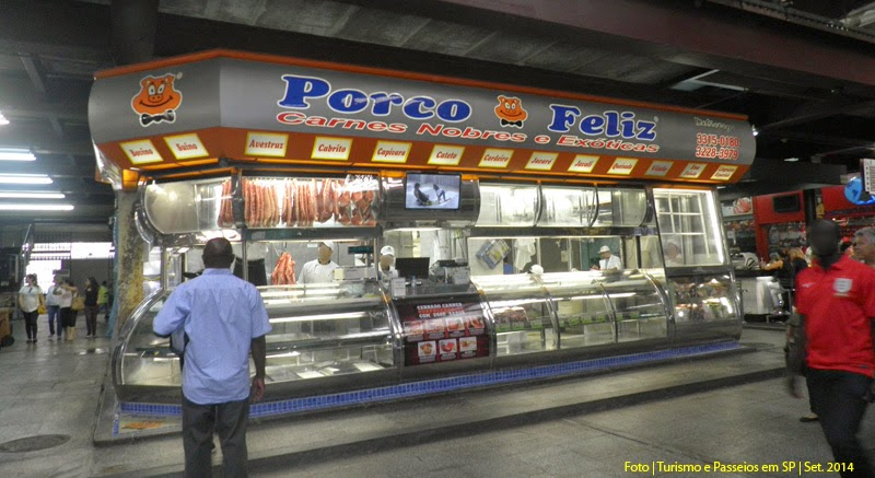 Açougue de carnes exóticas no Mercado Municipal de SP