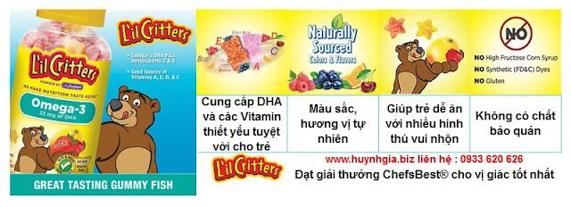 Omega 3 DHA L'il Critters Gummy Fish hàng Mỹ xách tay www.huynhgia.biz