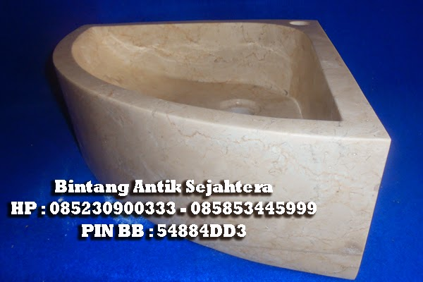 Wastafel  Batu marmer Berbentuk Sudut Untuk design Interior Papan Sempit.
