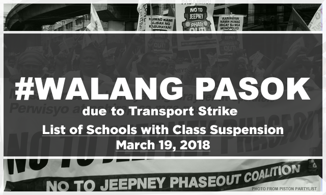 #WalangPasok: List of Schools with Class suspensions for Monday, March 19