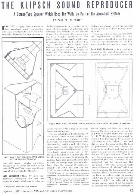 1947 The Klipsch Sound Reproducer Article By Paul W Klipsch