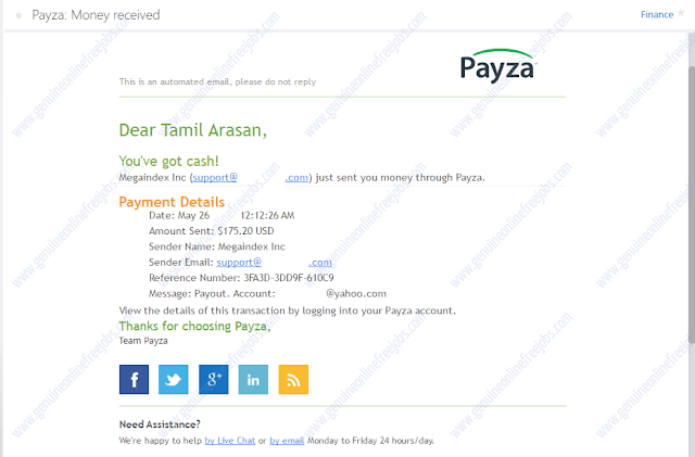 Receiving payment through payza account