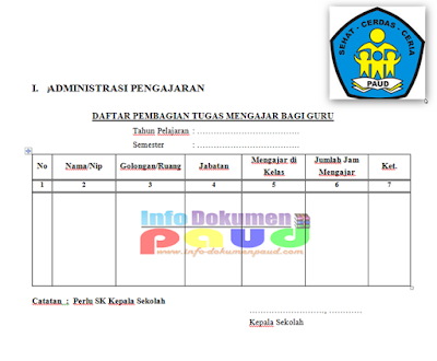 Administrasi Kepala Sekolah PAUD Format Word