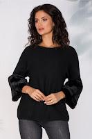 Bluza Saly neagra cu blanita la maneci