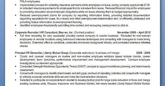 hr business partner sample resume format in word free download