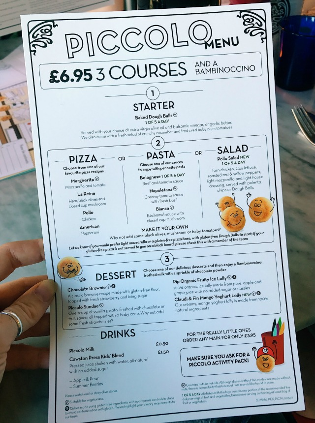 Pizza Express Childrens Menu