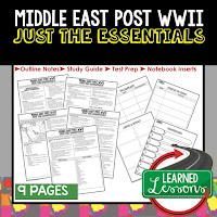 Middle East Post WWII, World History Outline Notes, World History Test Prep, World History Test Review, World History Study Guide, World History Summer School Outline, World History Unit Overview, World History Interactive Notebook Inserts