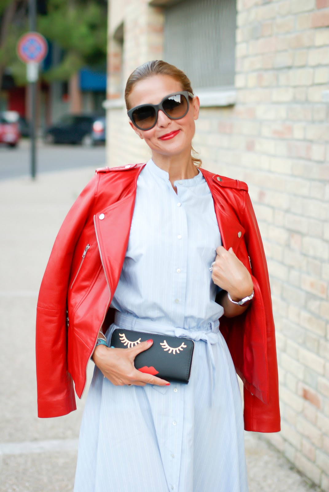 1.2.3 Paris red leather biker jacket Grease Sandy style on Fashion and Cookies fashion blog, fashion blogger style
