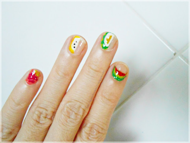 Summer fruit nail design-negative space fruit nail art