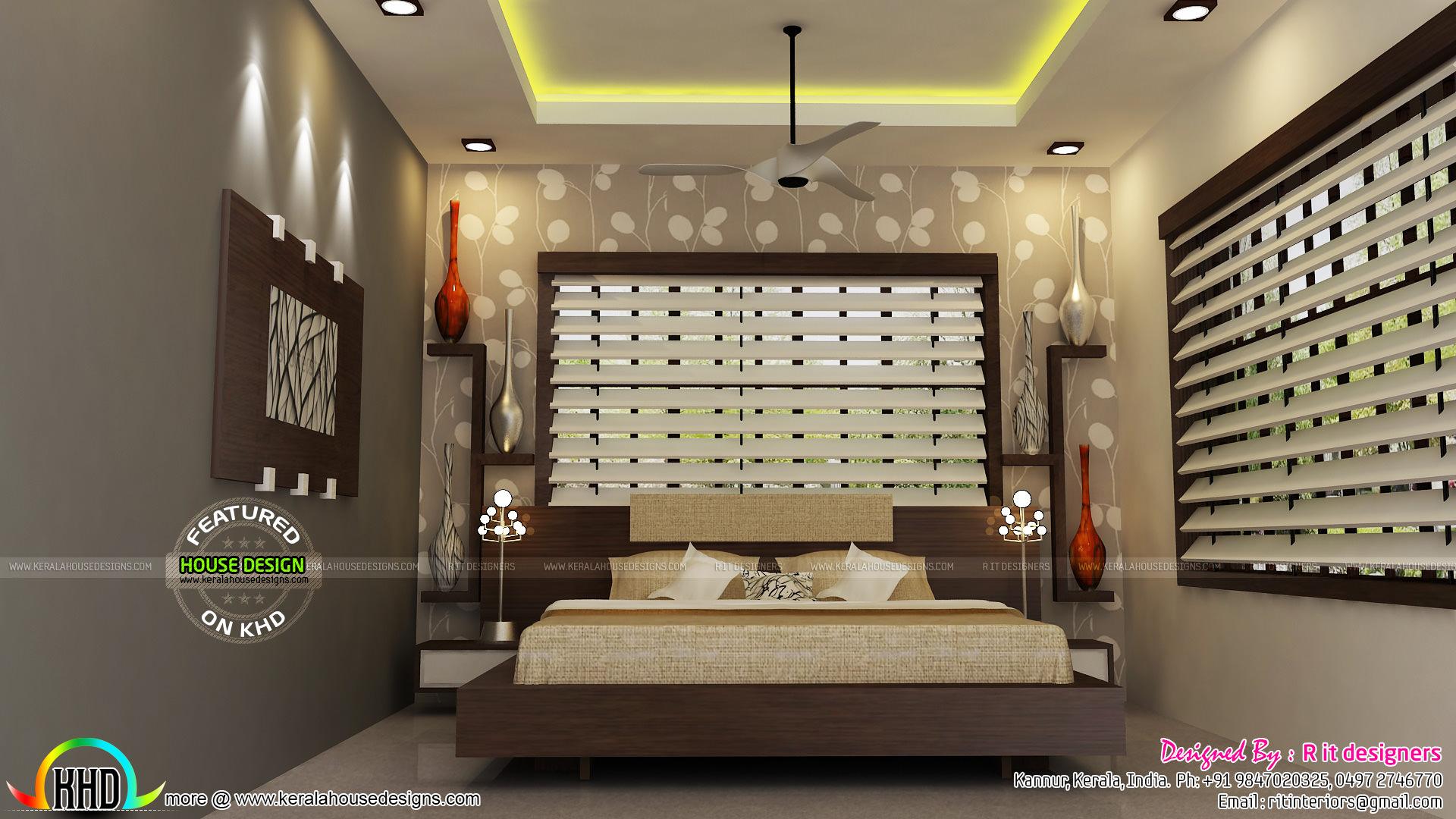 Foyer Plan Kerala : Bedroom kitchen living and foyer interiors kerala home