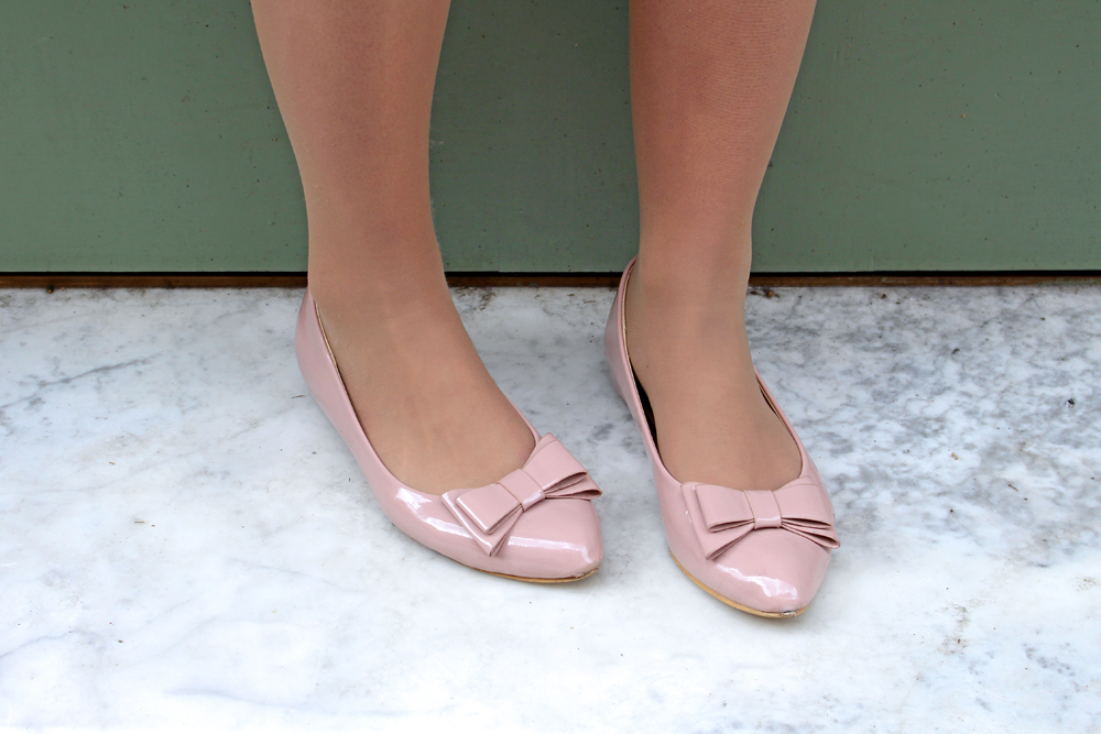 Nude patent Glamorous bow flats - London fashion blogger