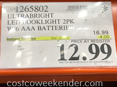 Deal for a 2 pack of UltraBrite 8-LED Dual-Head Reading Lights at Costco