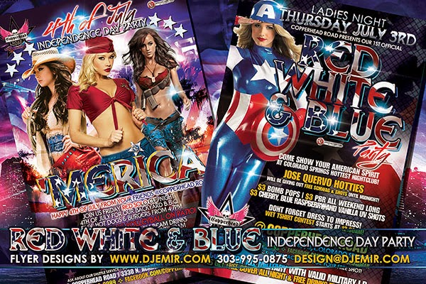 Red White And Blue 4th of July Costume Party Flyer Design