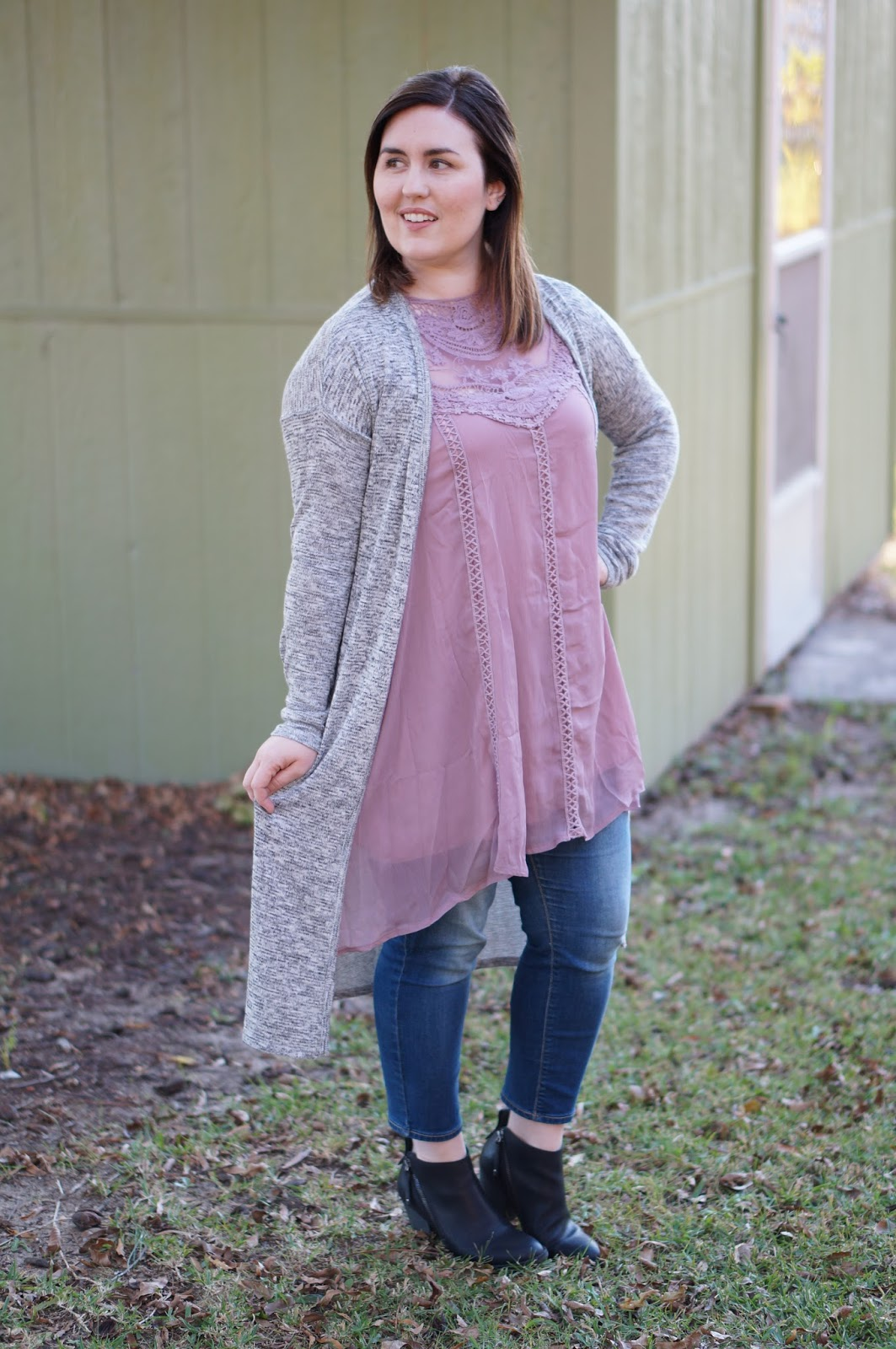 Rebecca Lately Rosegal Lace Dress Tunic Target Duster Cardigan DV Jameson Booties