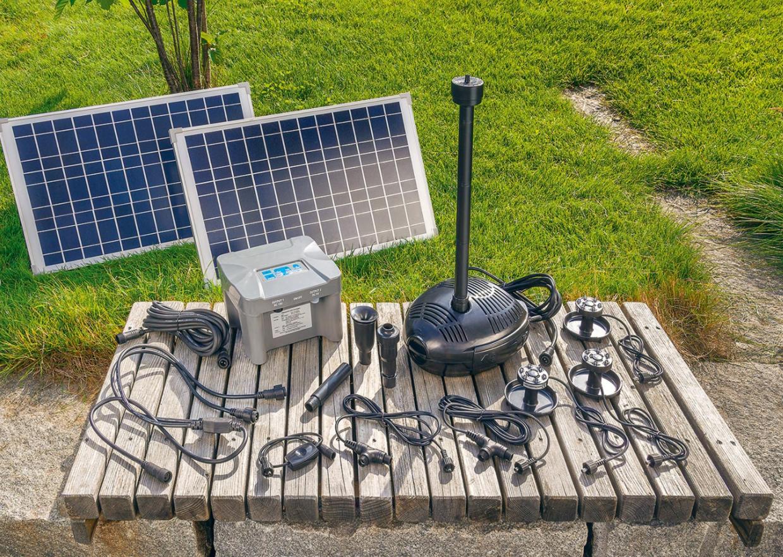 Jard n solar kit completo bomba solar para estanques con for Kit estanque jardin
