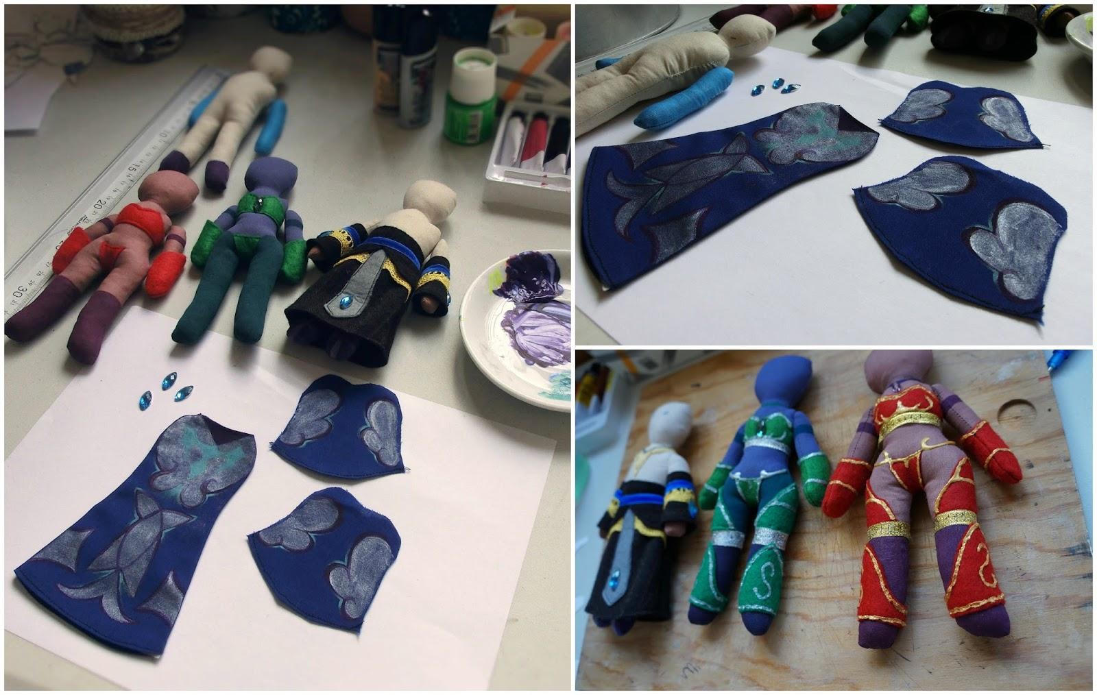 Muñecos de Nozdormu, Ysera, Alextrasza y Malygos en proceso. World of Warcraft.