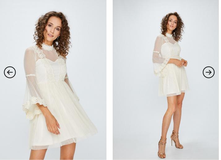 Answear - Rochie crem eleganta de ocazii cu maneci transparente la reducere