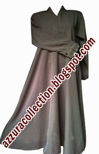 azzuracollection Gamis Polos Model Klok warna Abu Abu Tua