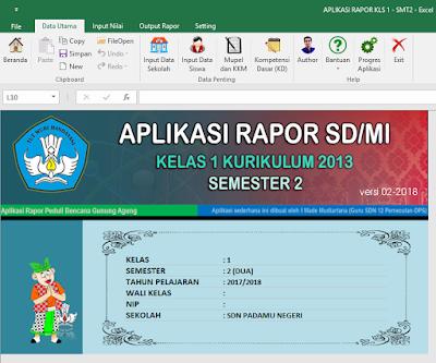 Rapor kurikulum 2013 semester 2 Jenjang SD/MI