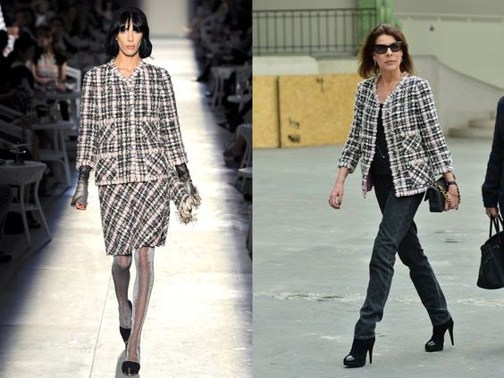 Princess Caroline of Hanover attended the Chanel Fall/Winter 2013 RTW collection held at the Grand Palais in Paris, wore Chanel jacket