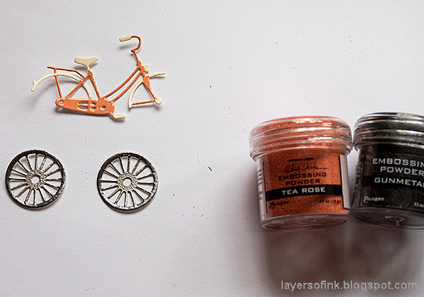 Layers of ink - Multi-Color Embossing Tutorial by Anna-Karin Evaldsson. Heat emboss the bicycle.