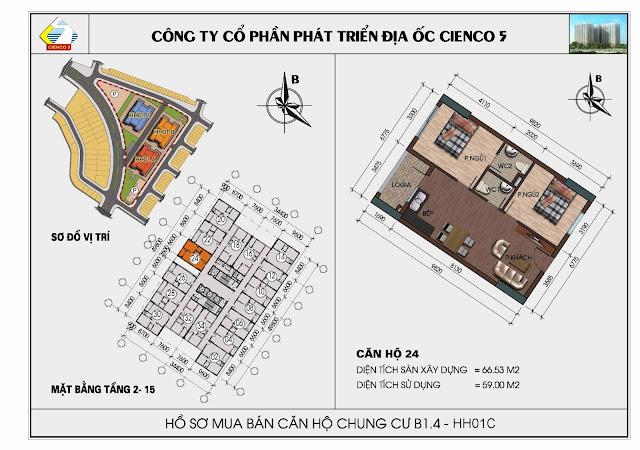 sơ đồ chung cư căn 24 Thanh Hà Cienco 5 Hà Đông căn 24 HH01C