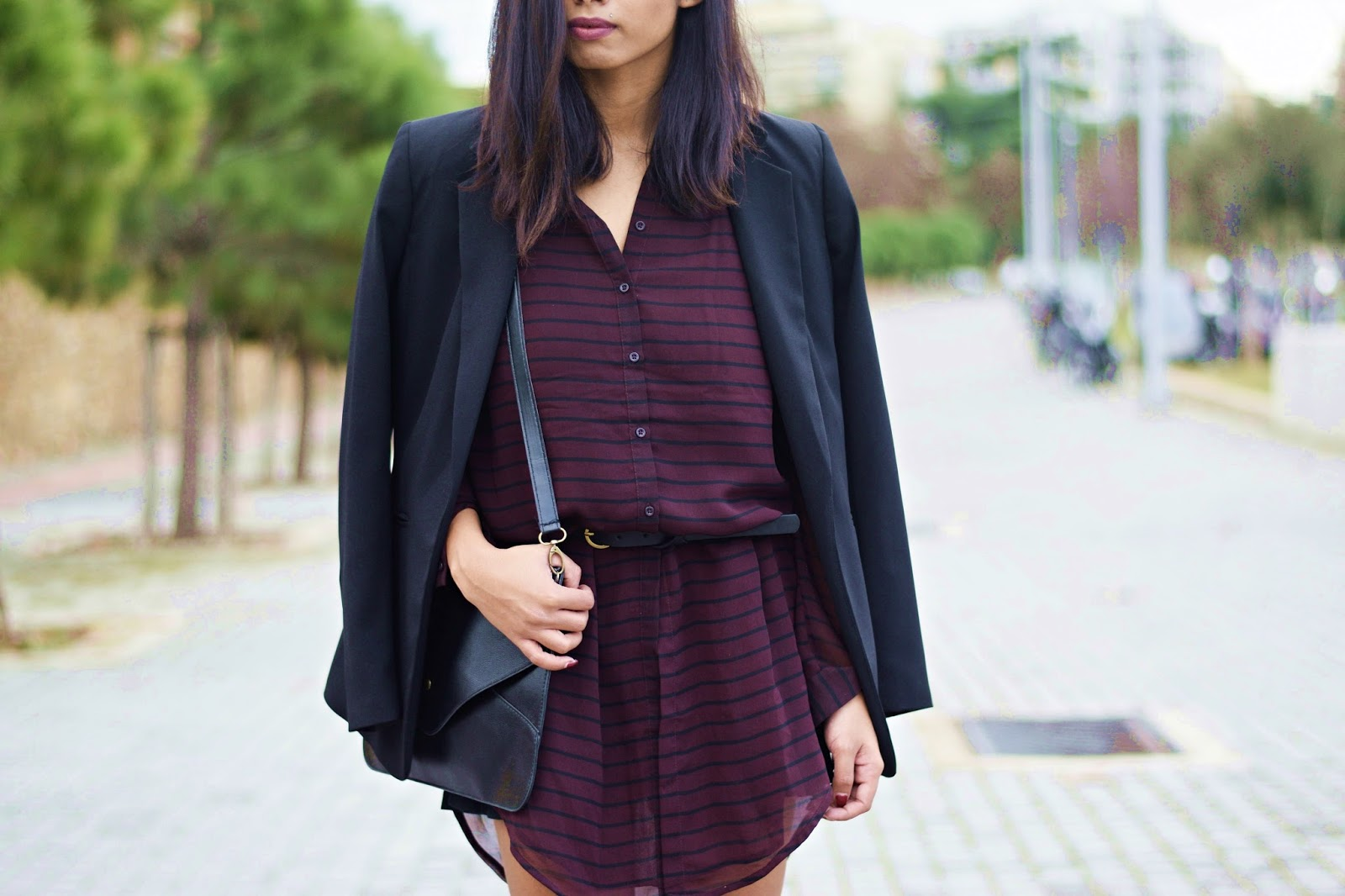 k-meets-style purple shirtdress leather envelope