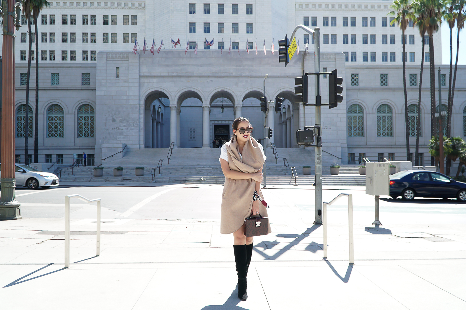 Zara Camel Waistcoat, Camel Waterfall Vest, Zara Black chunky heel boots, Zara Scarf, Celine Audrey Sunglasses, Fall Outfit Ideas, Fall Fashion, bracelet scarf, Downtown LA Photoshoot, Los Angeles City Hall