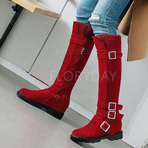 Buckle Mid-Calf Boots Wedge Heel Shoes