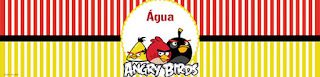 Etiquetas para botellas de agua personalizadas de Angry Birds.
