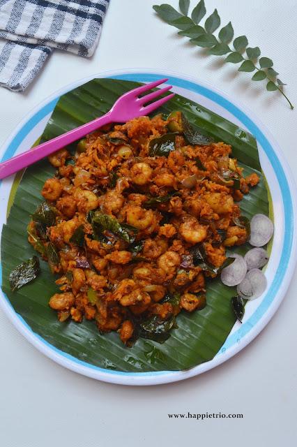 Kerala Style Spicy Prawn Roast | Chemmeen Roast
