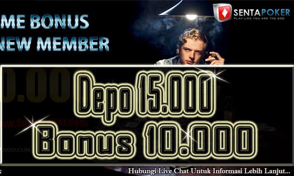 Sentapoker  Bonus Chip Poker 10000 Deposit 15000