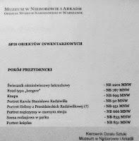 Spis inwentarzowy Pokoju Prezydenckiego Pałacu w Nieborowie
