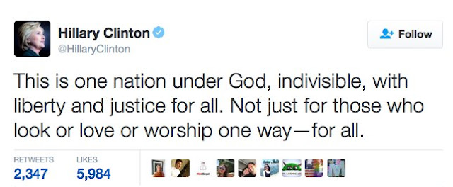 Hillary Clinton thinks we are one nation under god