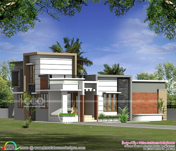 1100 square feet 2 bedroom flat roof house