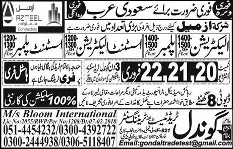 Overseas Jobs in Gondal Trade Center for Saudi Arabia 17 February 2018