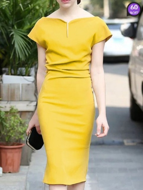 Fashion Sweet Heart Plain Bodycon Dresses (Price:$18.18)