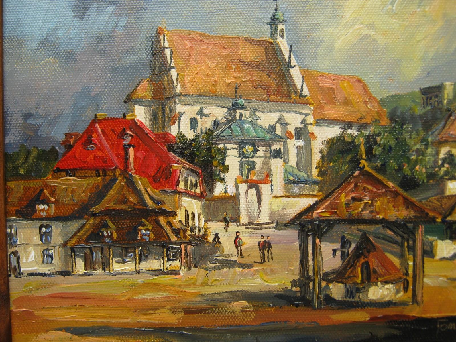 Ogromny Malarstwo olejne Tomasz Maj : Kazimierz Dolny nad Wisłą - miniatura PJ86