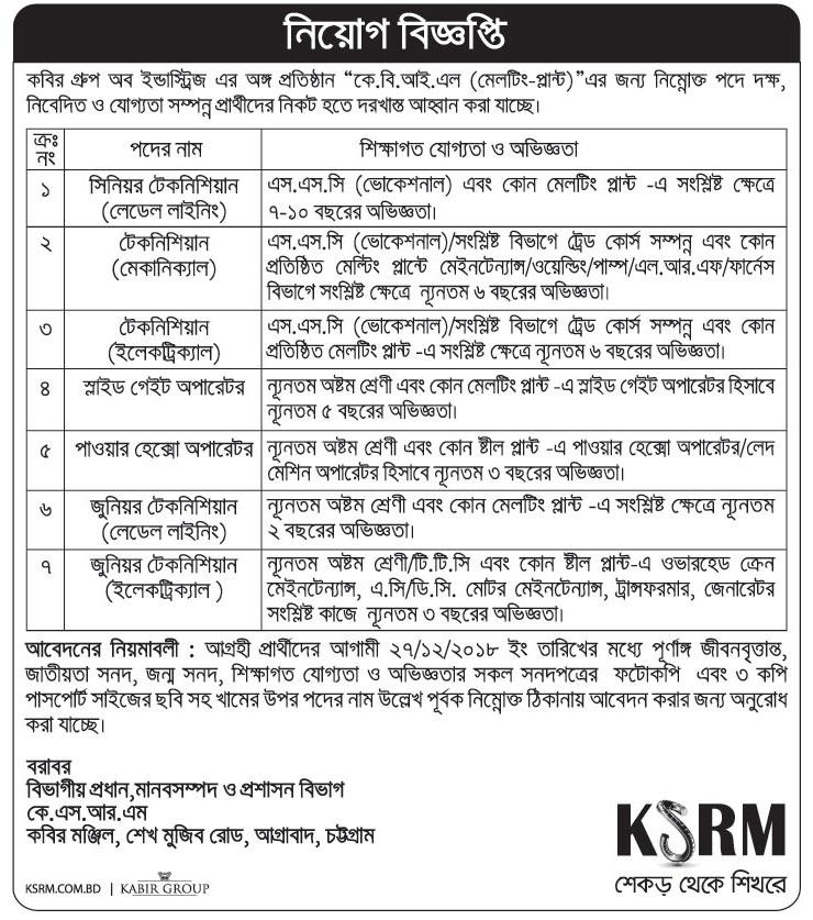 KSRM Job Circular 2018