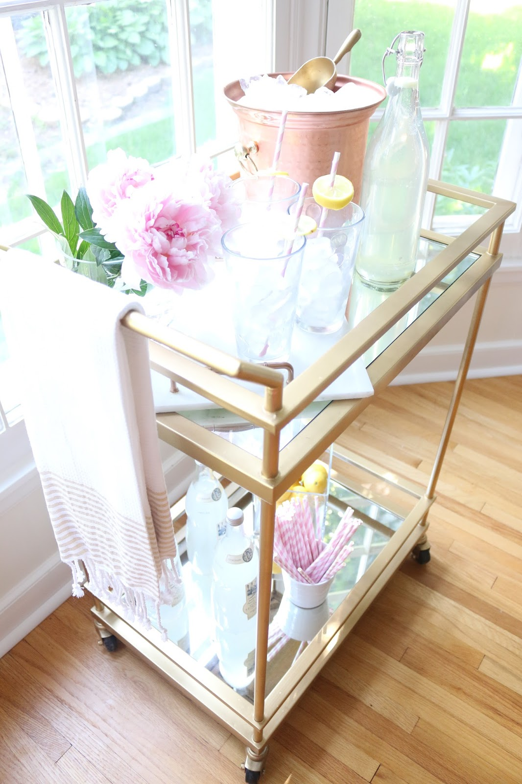 Ice Bucket Homegoods Towels Gles Marble Tray Diy Straws Bar Cart With Mirrors And Sprayed It Gold