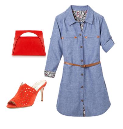 vestido camisero denim + mules rojos + bolso tote rojo